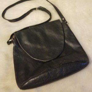 Stratic Black Leather Shoulder Bag Logo Lined